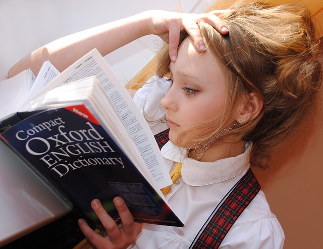 girl with dictionary
